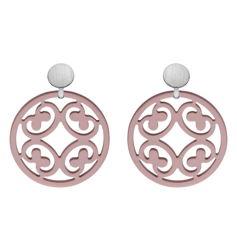Ohrringe rund aus Horn mit Ornamenten in Altrosa mit runde, echte Silberstecker aus der Santorin Kollektion von Romy North