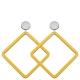 hochwertiger Modeschmuck gelbe Ohrringe in eckiger Form aus Horn mit Stecker aus Silber von Romy North