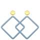 Große Ohrringe in Quadratischer Form in Blau aus Horn mit Stecker in Gold von Romy North
