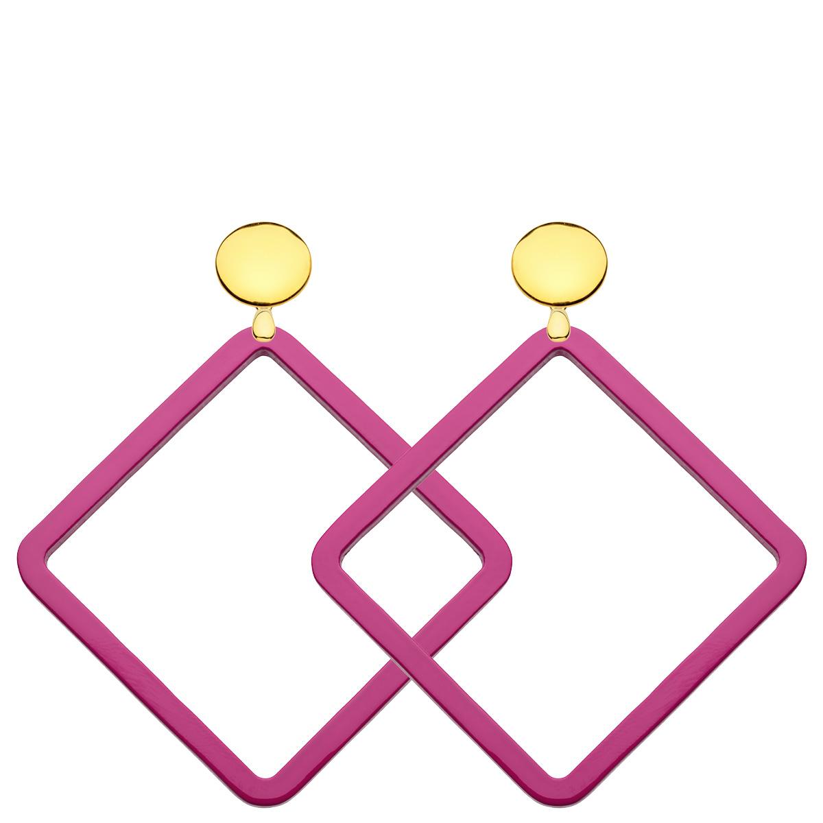 Quadratische Ohrringe eckig aus Horn in Pink mit Goldstecker von Romy North