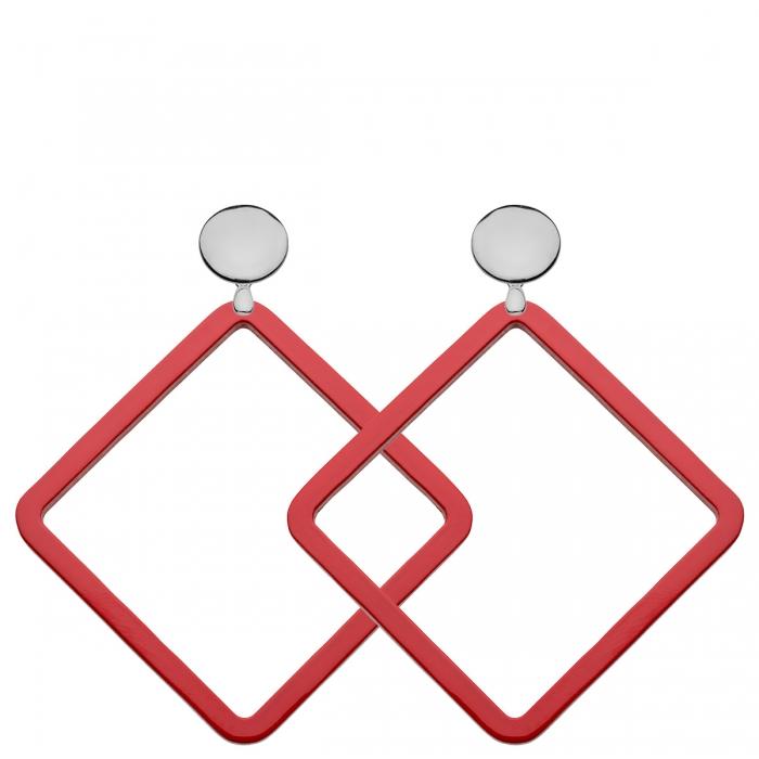 Ohrstecker Silber mit rote Hornanhänger in quadratischer Form aus der Hvar Kollektion von Romy North