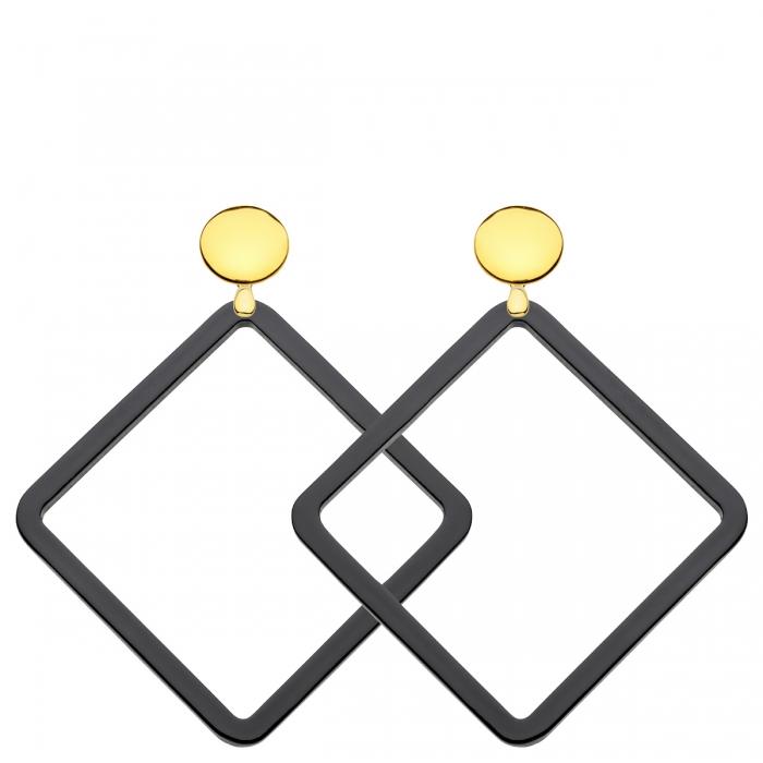 Ohrringe schwarz mit Goldstecker und Anhänger aus Horn von Romy North