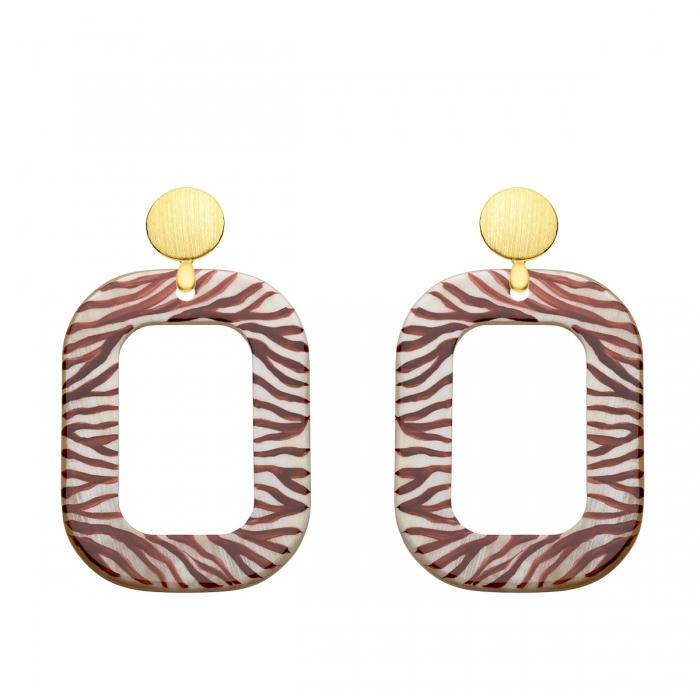 Ausgefallene Ohrringe mit Zebraprint aus Horn mit brauner Bemalung mit Goldstecker von Romy North