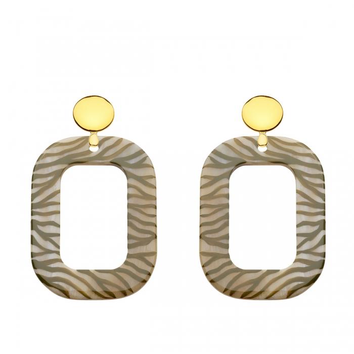 Ohrringe Stecker in Gold mit Zebra print Anhänger in Oliv aus Horn von Romy North