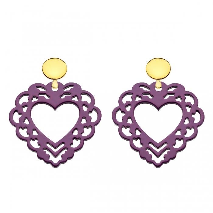 Herz Ohrringe aus Horn in Herzform in Violett mit runde Goldstecker von Romy North