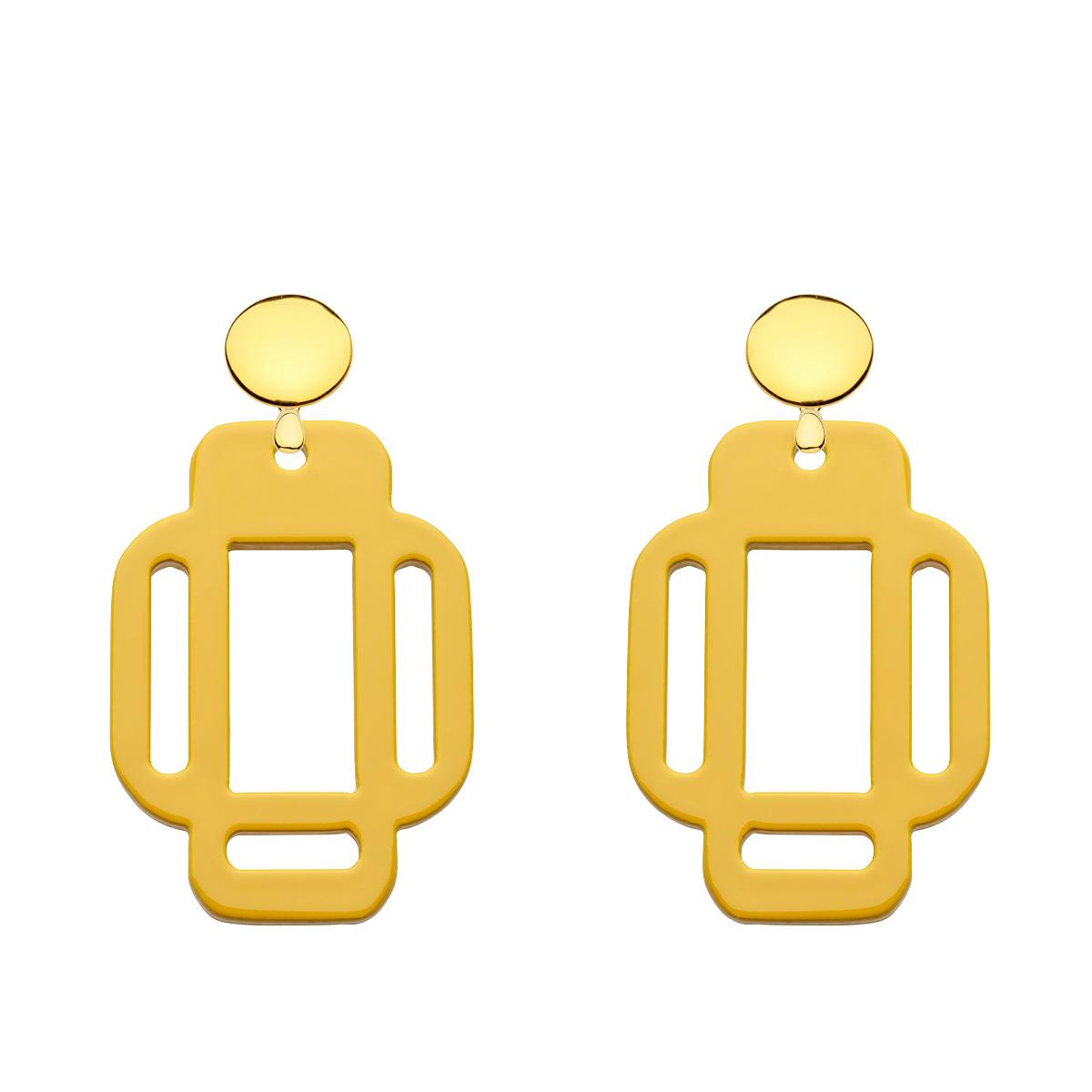 Damen Ohrringe Gelb in eckiger Form aus Horn mit Goldstecker von Romy North