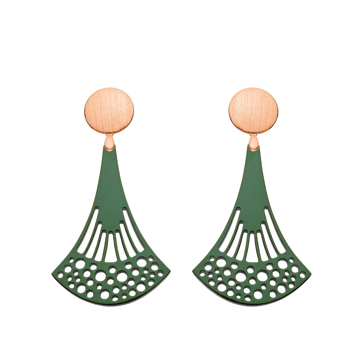 Ohrringe lang in Grün mit Wechselsystem in Rosegold aus der Ponza Kollektion von Romy North