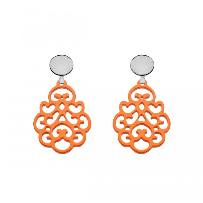 Hängende Ohrringe aus Horn in Orange mit echte Silberstecker von Romy North