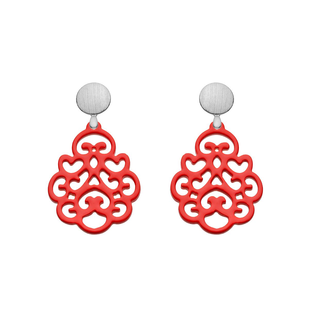 Rote Ohrringe Statement aus Horn mit matte Silberstecker aus der Reunion small Kollektion von Romy North