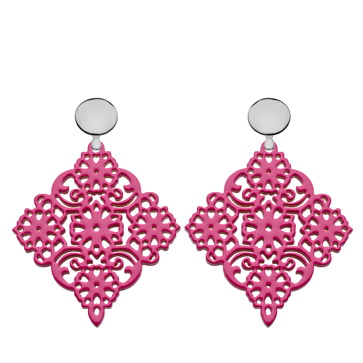 Ohrschmuck aus Horn in Pink mit Ornamenten mit Silberstecker aus der Sansibar Kollektion von Romy North