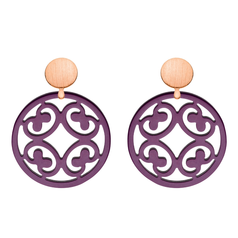 Damen Ohrringe rund aus Horn in Violett mit Wechselsystem in Rosegold aus der Santorin Kollektion von Romy North