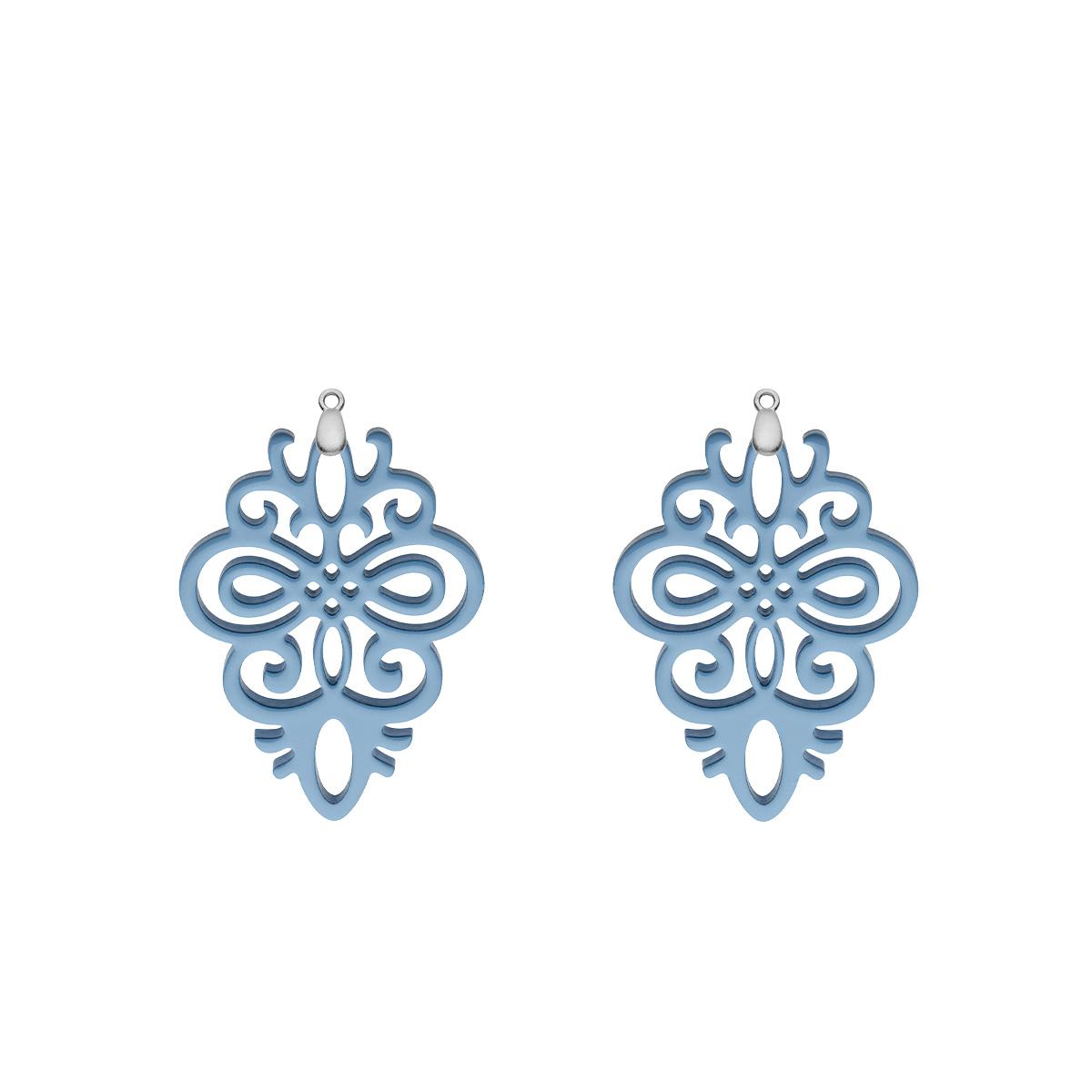 Statement Anhänger Blau aus Horn für Ohrringe in Silber von Romy North