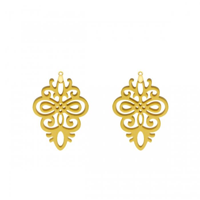 Ornament Anhänger Gelb aus Horn mit Gold für Wechselohrringe von Romy North