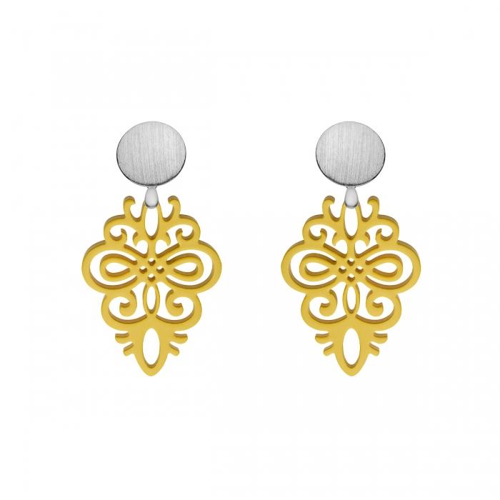 Gelbe Ohrringe aus Horn mit Wechselsystem in Silber matt aus der Saona Kollektion von Romy North