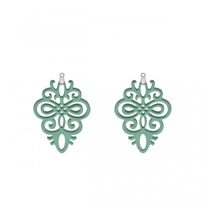 Anhänger grün aus Horn mit Ornamenten für Wechselohrringe in Silber von Romy North