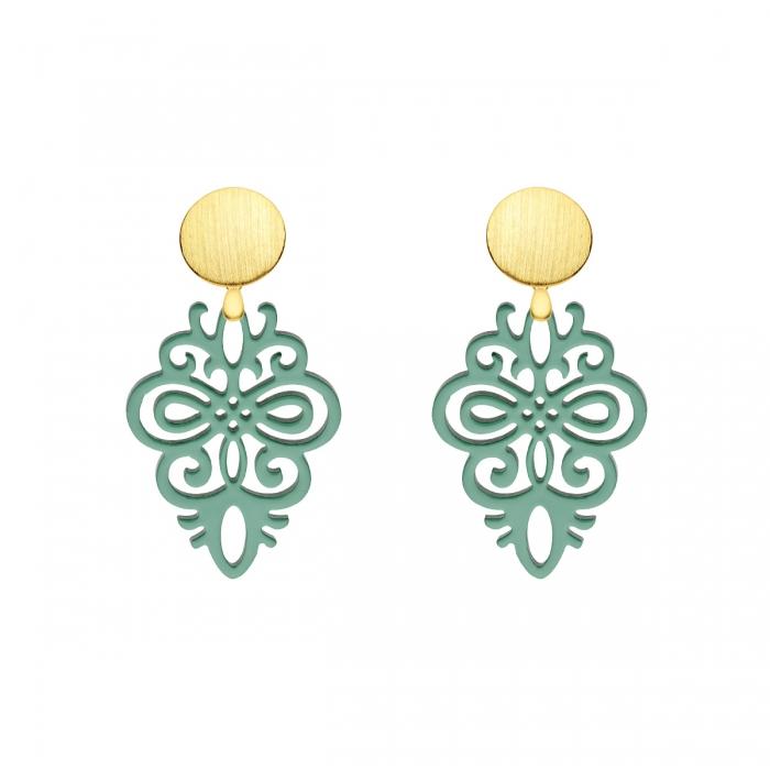 Ohrringe in Grün aus Horn mit Wechselsystem in matten Goldstecker aus der Saona Kollektion von Romy North