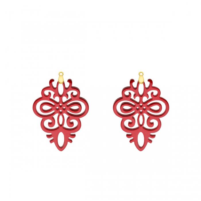 Anhänger Rot aus Horn für Ohrringe in Gold von Romy North