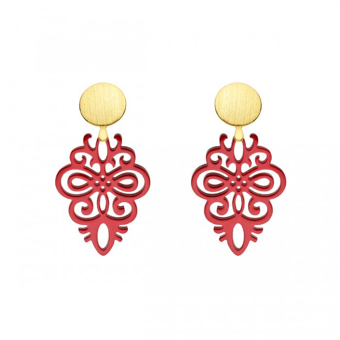 Ohrringe in Rot aus Horn mit Wechselsystem in matten Goldstecker aus der Saona Kollektion von Romy North