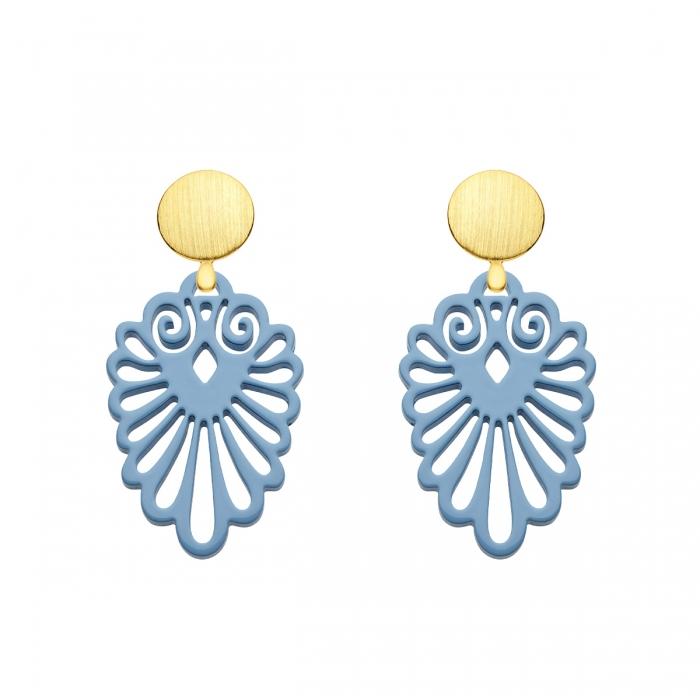 Ausgefallene Ohrringe aus Horn in Blau mit Wechselsystem in Gold aus der Sumatra Kollektion von Romy North