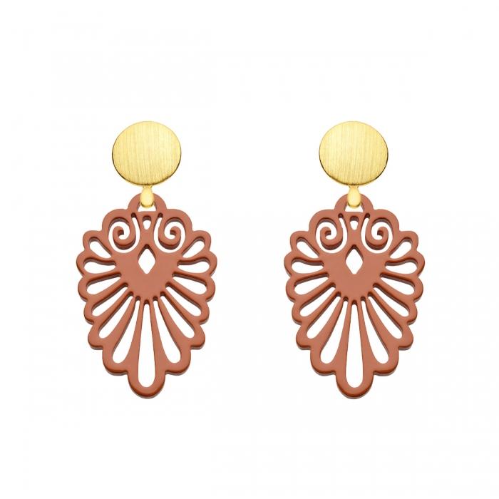 Ohrringe Damen aus Horn in Cognac mit Wechselsystem in Gold aus der Sumatra Kollektion von Romy North