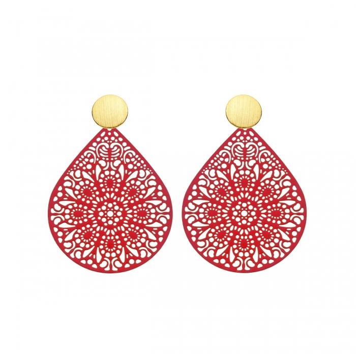 Ohrringe Rot als Tropfen aus Messing mit matte Goldstecker von Romy North