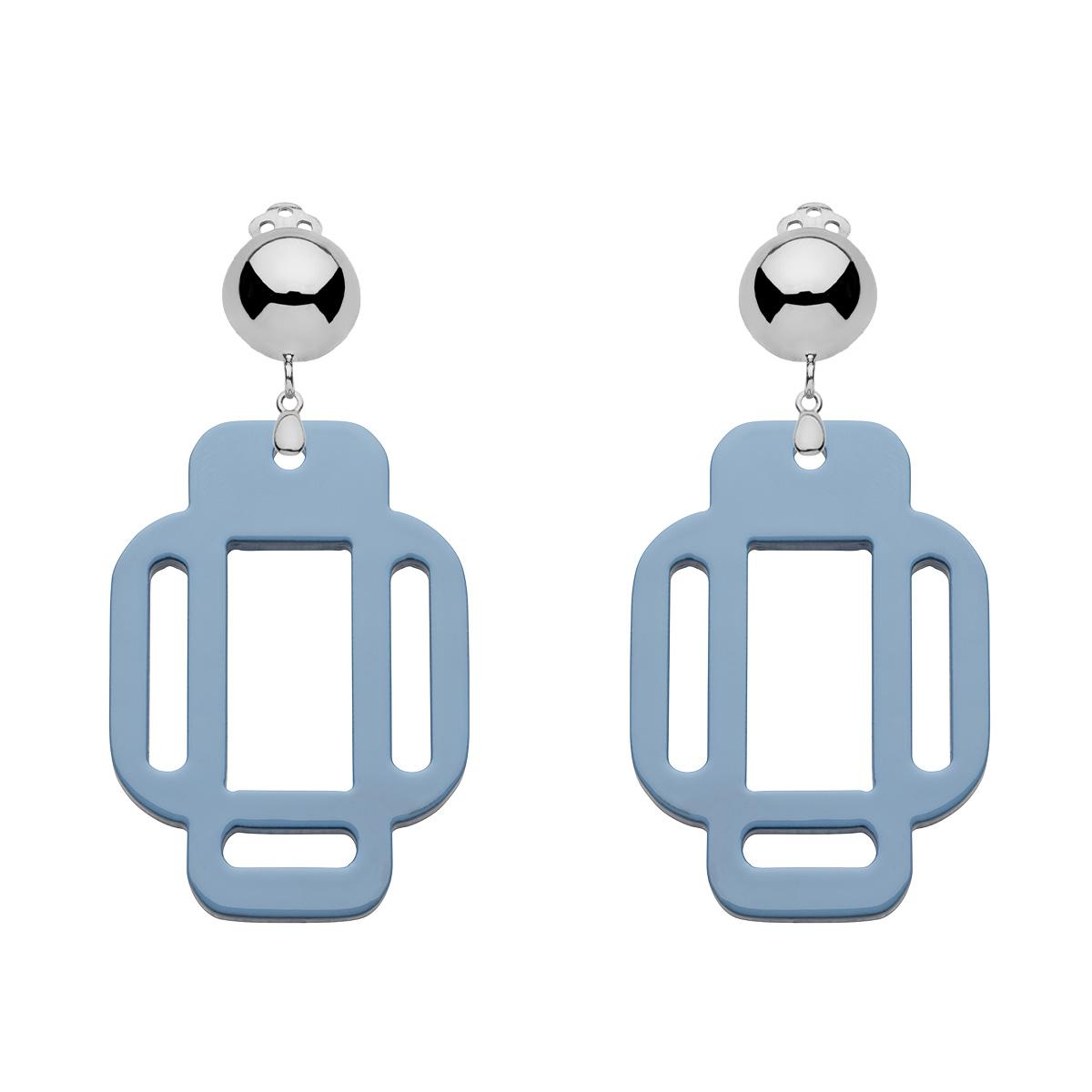 Ohrringe Clips Blau aus Silber in eckiger Form von Romy North