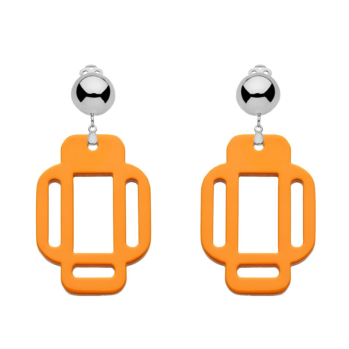 Ohrringe Orange Ohrclips aus Silber in eckiger Form von Romy North