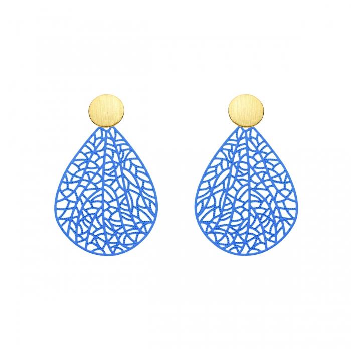 Ohrringe zart in Blau mit Goldstecker aus der Bermudas Kollektion von Romy North