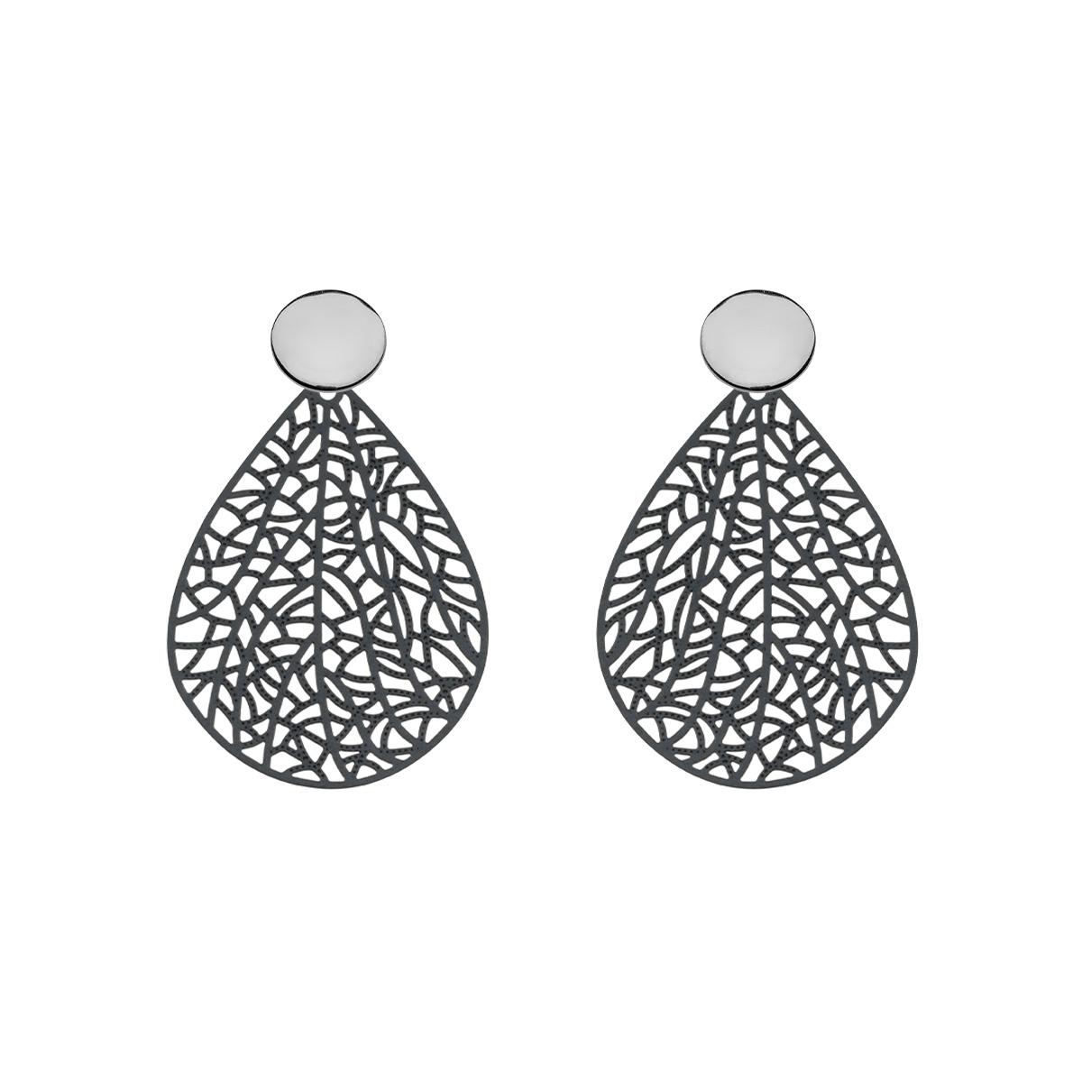 Schwarze Ohrringe Tropfen aus Messing mit Silberstecker von Romy North