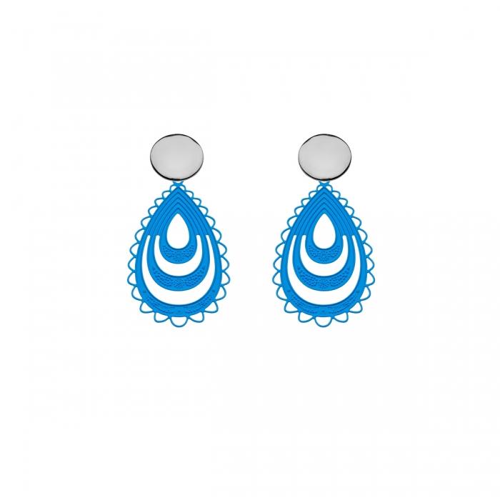 Ohrringe Blau Tropfen mit Silberstecker aus der Elba Kollektion von Romy North