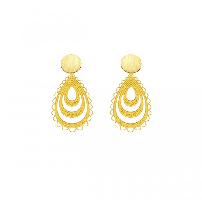 Ohrringe Gelb klein Tropfenform mit matte Goldstecker aus der Elba Kollektion von Romy North