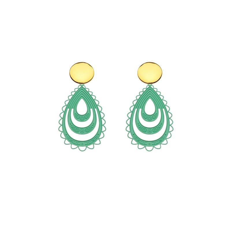 Tropfen Ohrringe Grün mit Goldstecker aus der Elba Kollektion von Romy North