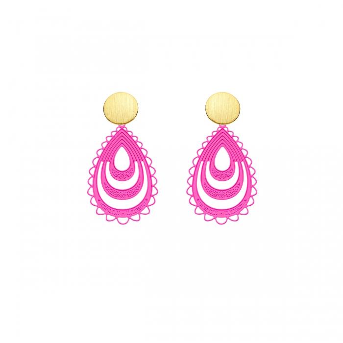 Pinke Ohrringe in Tropfenform mit matte Goldstecker von Romy North