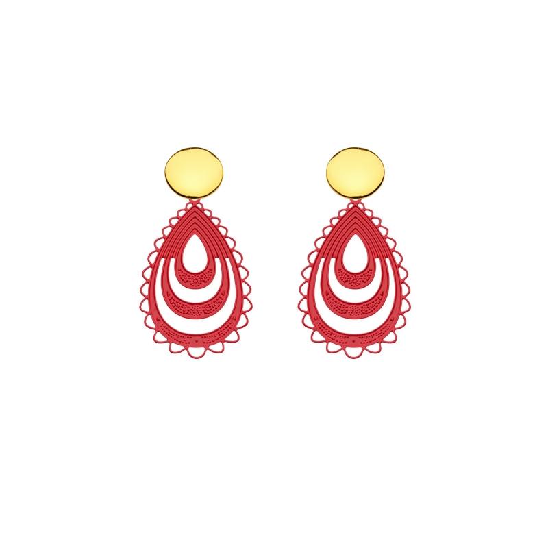rote Ohrringe aus Messing in Tropfenform aus der Elba Kollektion von Romy North