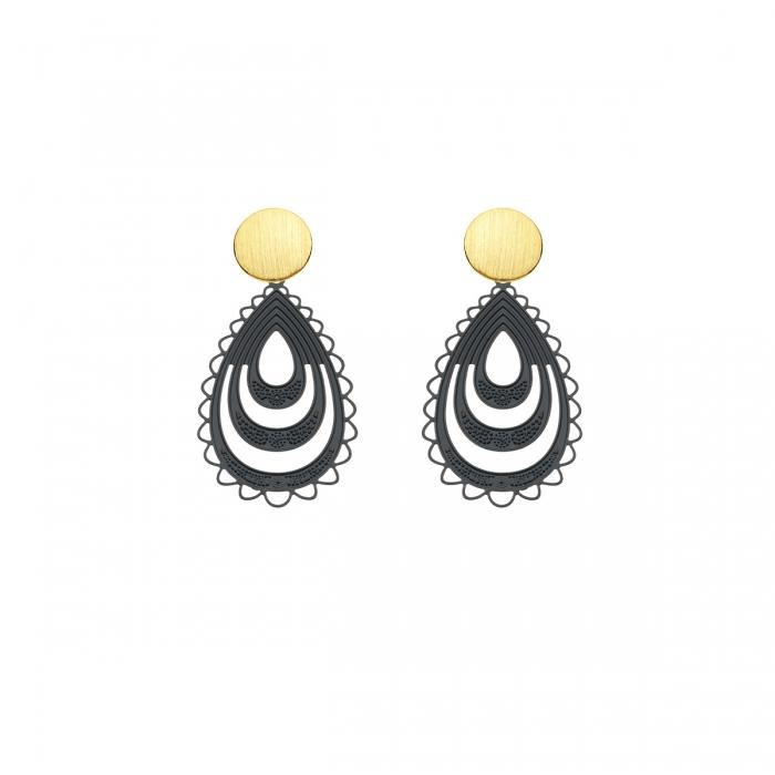 schwarze Ohrringe in Tropfenform aus Messing mit matte Goldstecker von Romy North