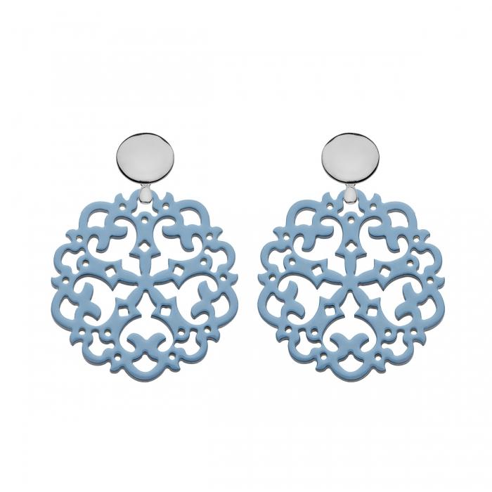 Blaue Ohrringe rund aus Horn mit Ornamenten und mit Silberstecker von Romy North