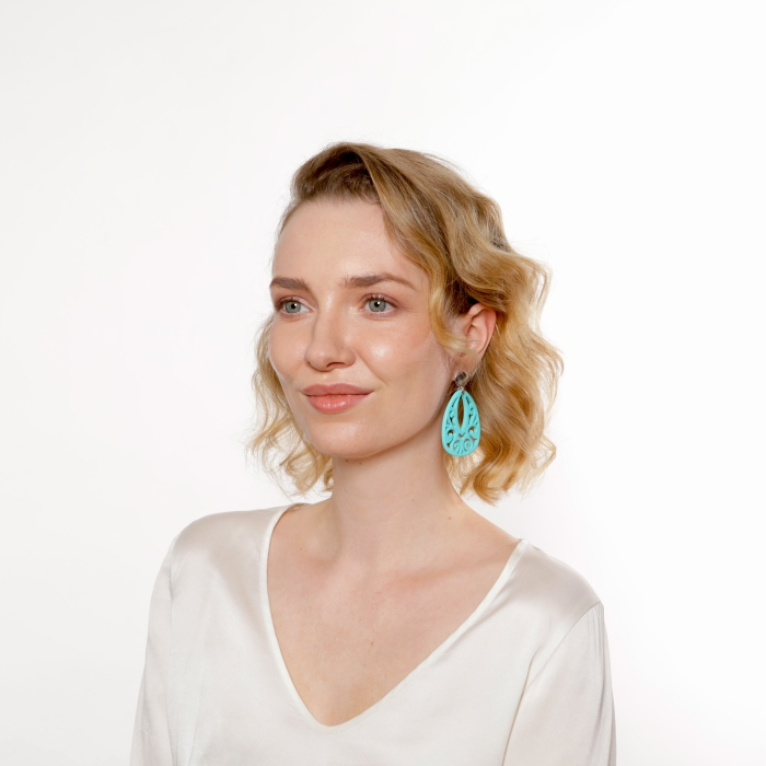 Ohrringe Damen türkis aus Horn mit Silberstecker von Romy North