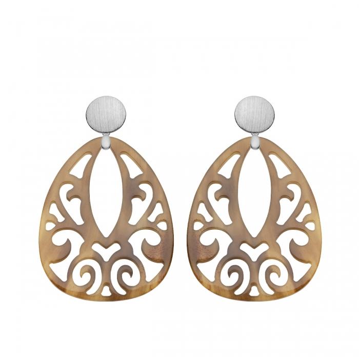 Tropfen Ohrringe aus Naturhorn mit matte Silberstecker von Romy North