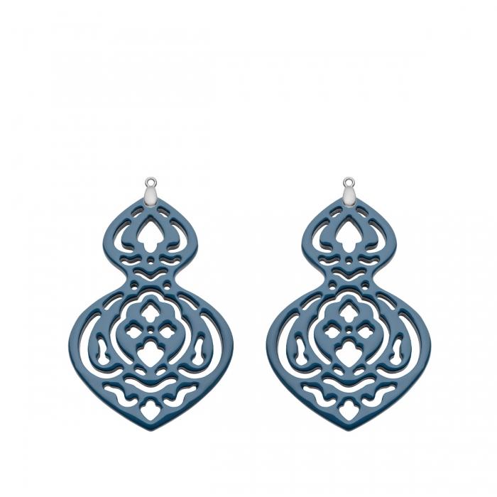 Romy North Ohrringe Blaue Anhänger mit Wechselsystem aus Silber