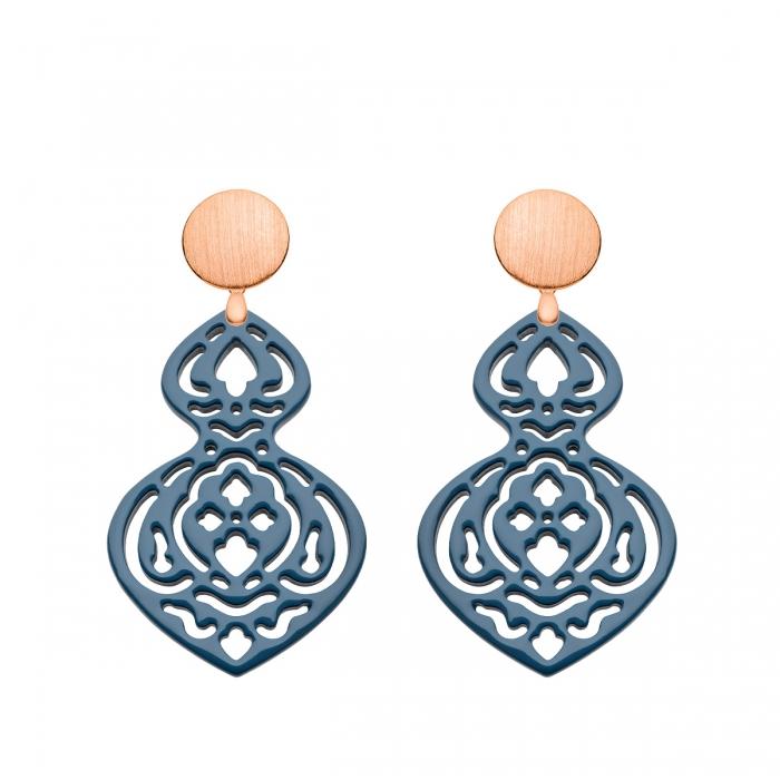 Ohrringe Horn in Blau in langer Form mit Ornamenten mit Wechselohrringen in Rose