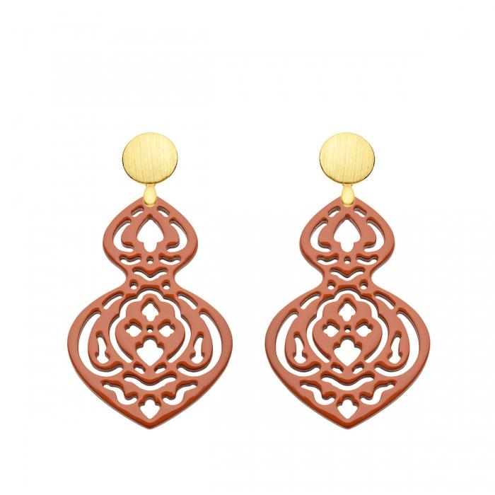 Trend Ohrringe Stecker Gold matt mit Horn in edlem Cognac mit Ornamenten von Romy North