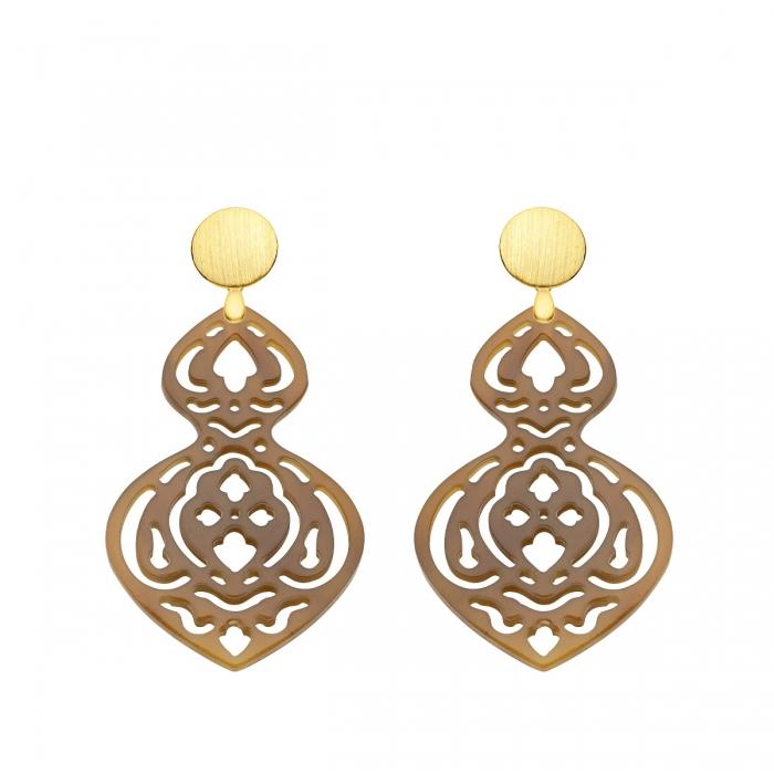 Ohrringe aus Horn besondere Form mit Goldstecker aus der Madeira Kollektion von Romy North