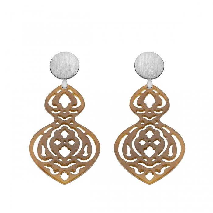 Ohrringe Silber mit Hornelementen mit mit Ornamenten und mit Wechselsystem aus Silber von Romy North