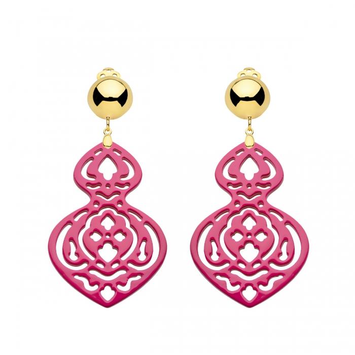 Damen Ohrclips aus Horn in Pink mit Goldclips von Romy North