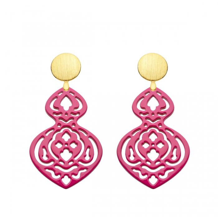 Ohrringe lang in Pink aus Horn mit Wechselsystem in Gold von Romy North