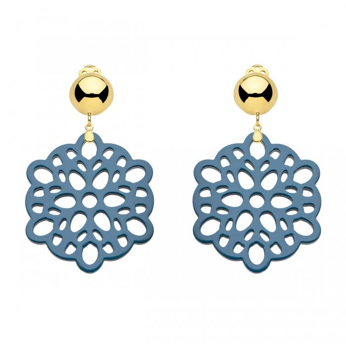 Ohrclips Ohrringe Blüte Blau aus Horn mit Goldclips von Romy North