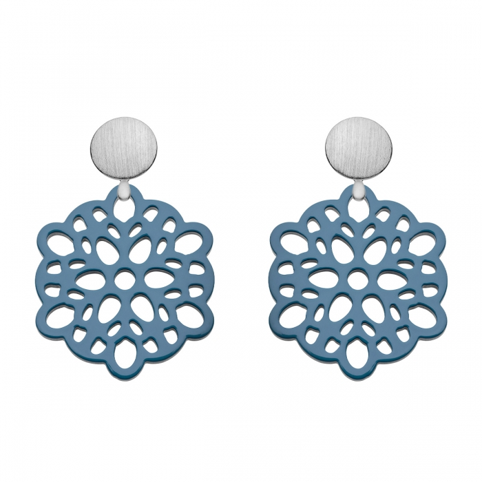 Ohrringe Silber mit Wechselsystem in Blau aus Horn von Romy North