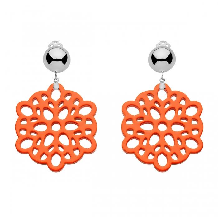 Runde Ohrclips orange aus Horn mit Silberclips von Romy North