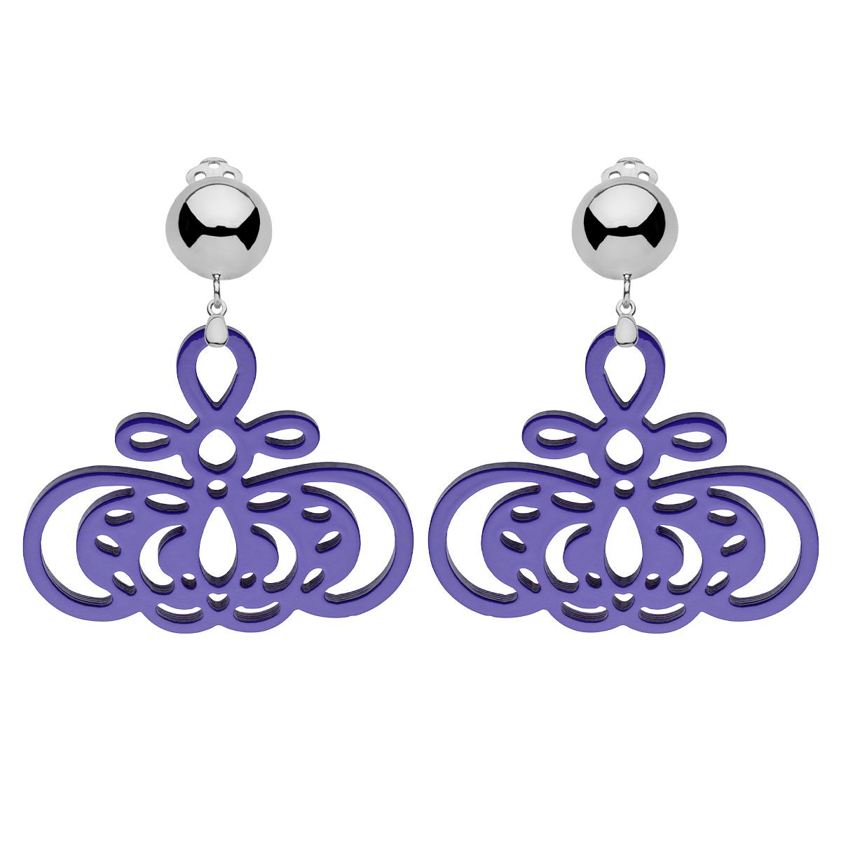 Ohrclips in violett mit Silber Clips aus der Barbados Kollektion