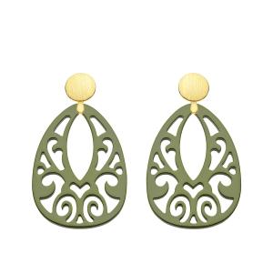 Olivgrüne Ohrringe aus Horn von Romy North